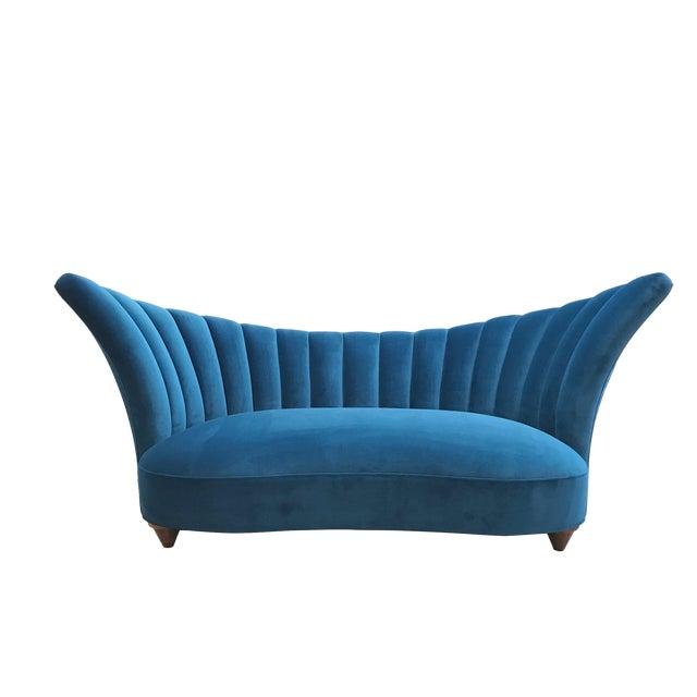 1960s Art Deco Asymmetrical Blue Upholstereed Channel Back Sofa For Sale
