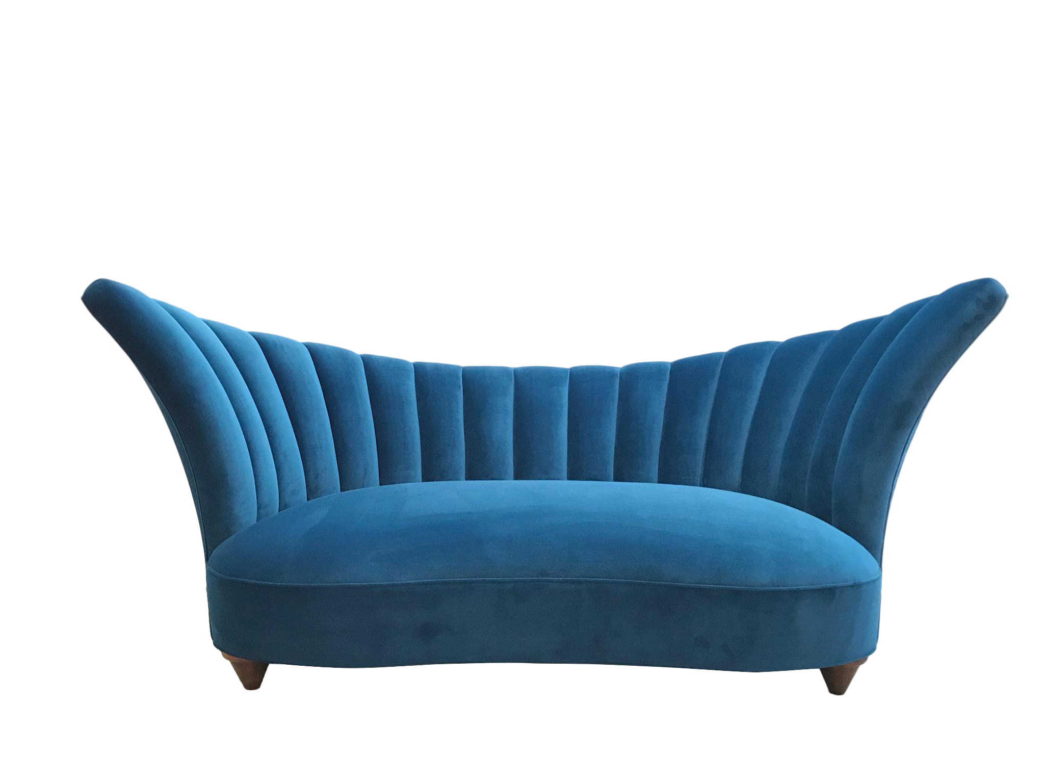 1960s Art Deco Asymmetrical Blue Upholstereed Channel Back Sofa