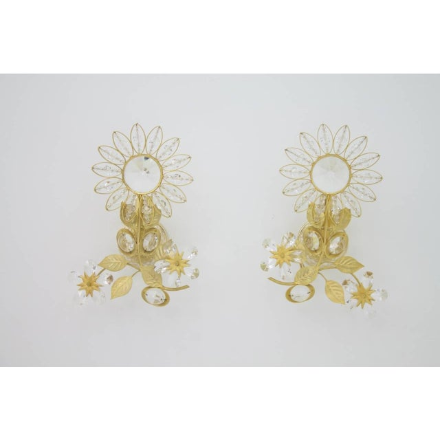 Pair of Wall Sconces Crystal Glass and Brass by Faustig Germany, 1970s For Sale - Image 9 of 10