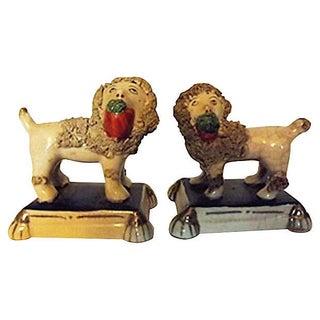 19th Century Antique Staffordshire Poodles - Pair For Sale