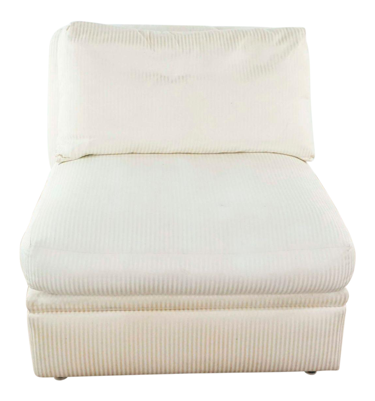 Bernhardt White Upholstered Slipper Chair Chairish