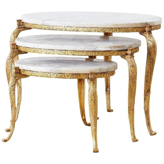 Nest of Italian Doré Bronze and Marble Drink Tables For Sale - Image 13 of 13