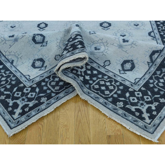 Textile Hand-Knotted Wool Turkish Knot Oushak Cropped Rug- 9′2″ × 11′10″ For Sale - Image 7 of 12