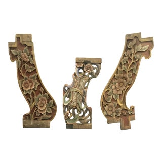 18th/19th Century Chinese Carved Wood Architectural Ornaments - Set of 3 For Sale