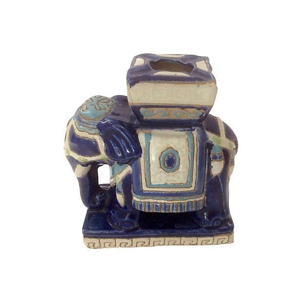 Blue & White Ceramic Elephant Ashtray For Sale