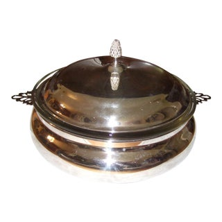 Vintage Reed and Barton Casserole Serving Dish & Glass Insert For Sale