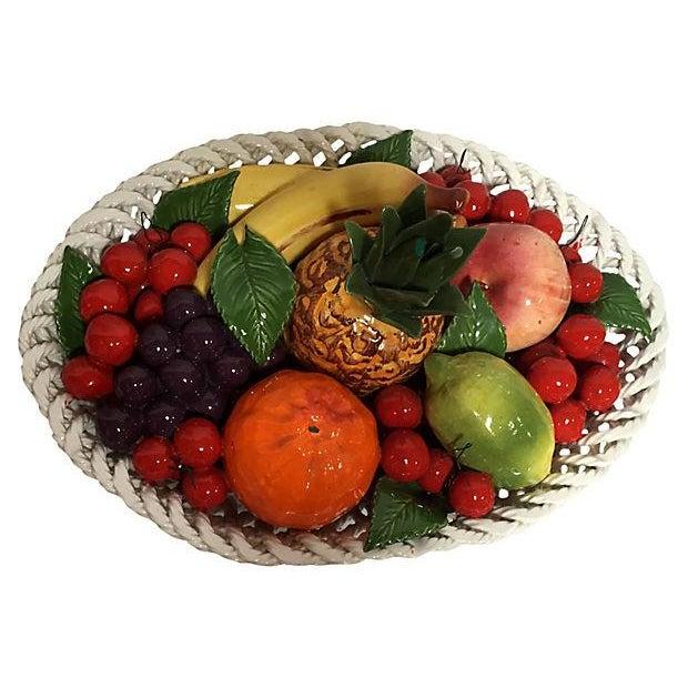 Vintage Italian Majolica Fruit Basket For Sale - Image 5 of 8