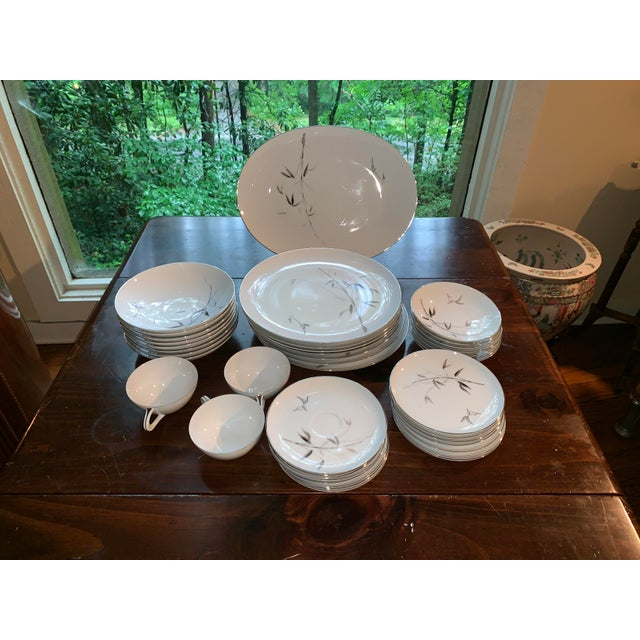 Sango Bamboo Knight Grey Bamboo Platinum Trim-Partial Dinnerware Set - 41 Plates, Reduced For Sale - Image 12 of 12