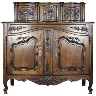 19th Century French Provencal Louis XV Style Walnut Carved Sideboard For Sale