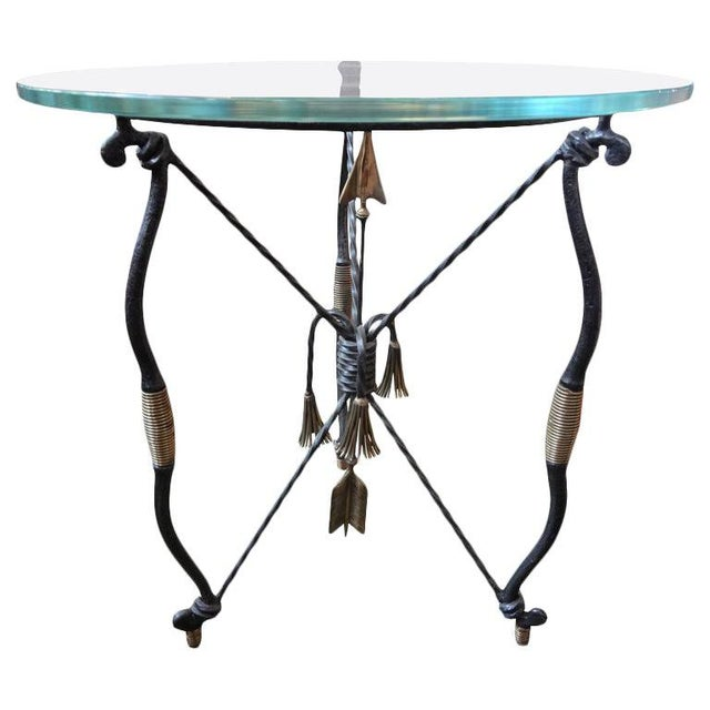 Gold 1970's Italian Giacometti Inspired Iron and Brass Table For Sale - Image 8 of 9