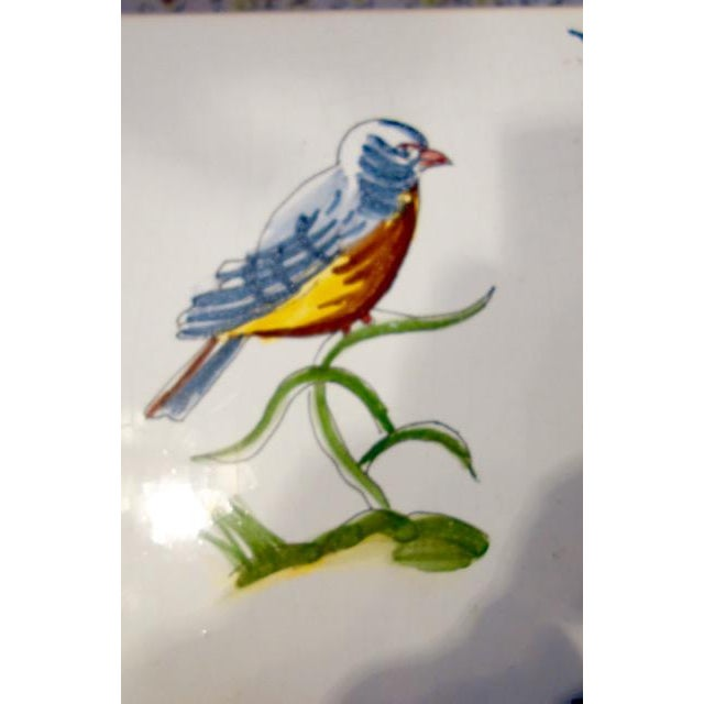 Spanish 1940s Handpainted Spanish Tiles, Bird and Flower - a Pair For Sale - Image 3 of 5