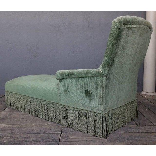 19th Century Light Green Velvet Chaise - Image 4 of 8