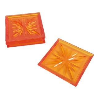 Mid Century Orange Lucite Coasters - Set of 4
