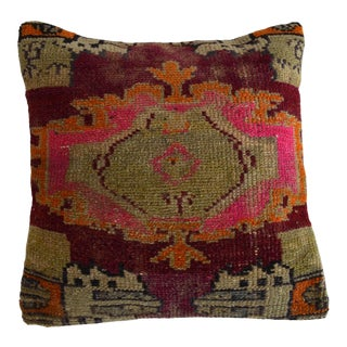 "15"" Hand Knotted Pillow Cover. From Vintage Distressed Turkish Rug For Sale"