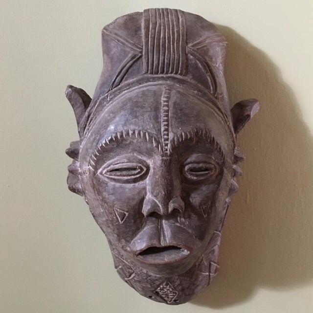 African Vintage African Hand Carved Tribal Mask For Sale - Image 3 of 6