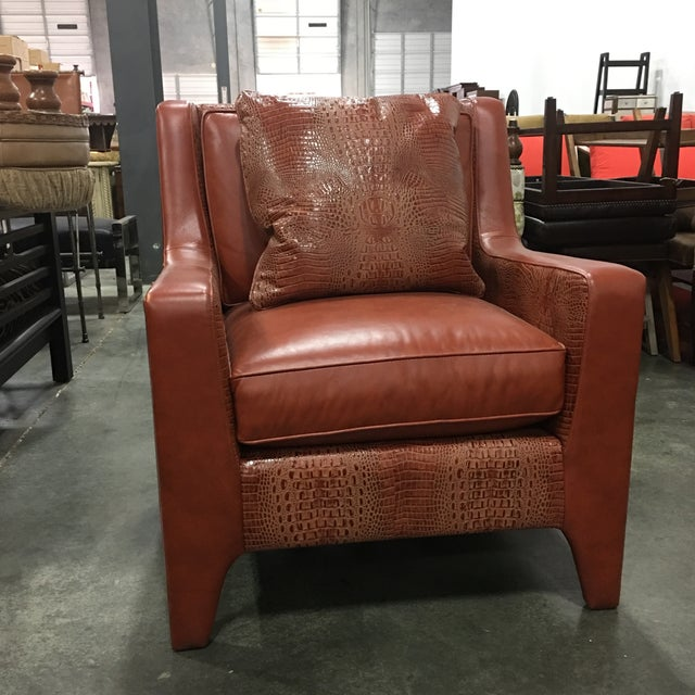 Leathercraft Burnt Orange Leather Accent Chair - Image 7 of 7