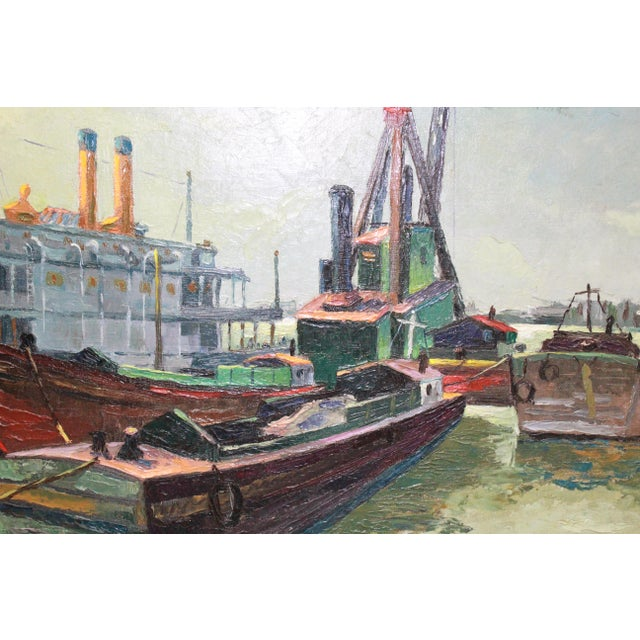 Early 20th Century Early 20th Century Antique Buccholz Shipyard Scene Painting For Sale - Image 5 of 6