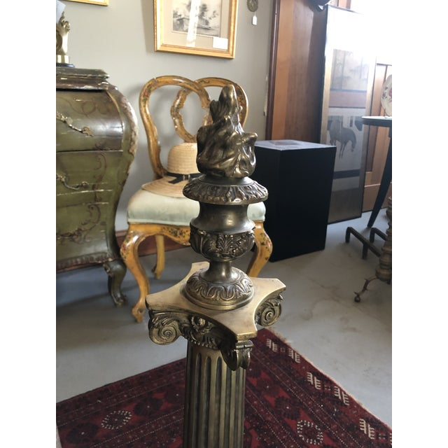 Brass C. 1900 Neo Classical Brass Pillar Fireplace Andirons - a Pair For Sale - Image 8 of 13