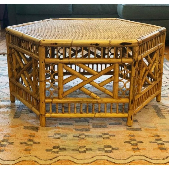 Wood Vintage Mid-Century Boho Chic Rattan Coffee Table For Sale - Image 7 of 7