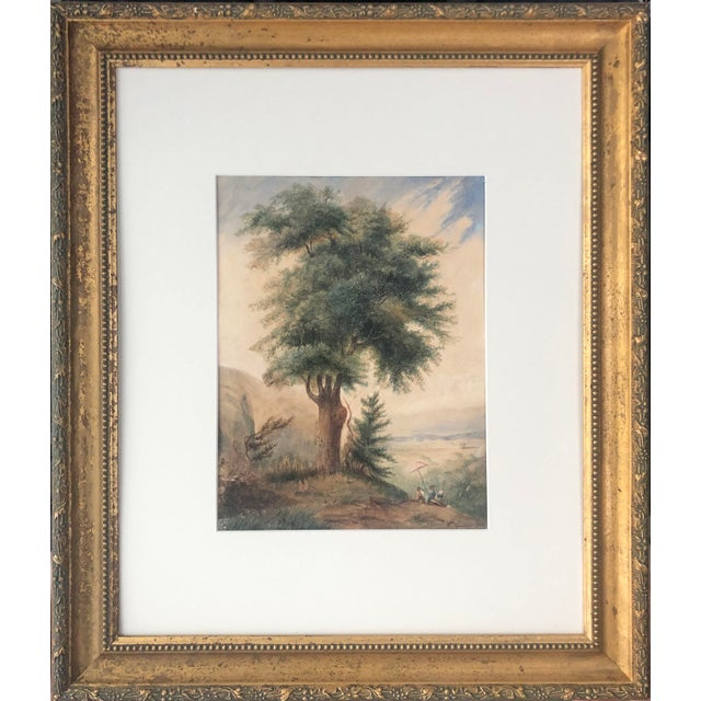 Green 19th Century French Watercolor Landscape Painting of Artists Under a Tree by Pasquier 1834 For Sale - Image 8 of 8