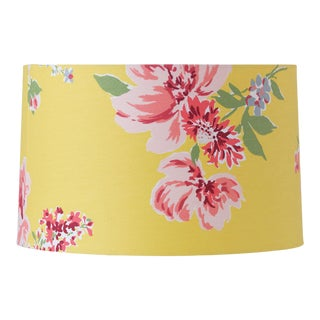 Medium Yellow Floral Fabric Lamp Shade For Sale