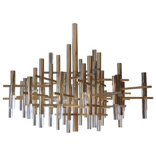 1960s Italian Gaetano Sciolari & Luster Aluminum and Glass Chandelier