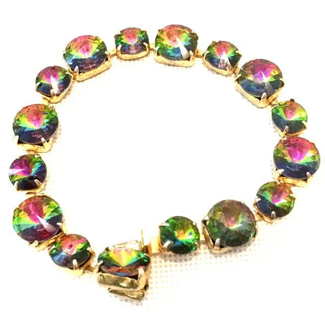 "20th Century Gold Plate & Austrian Crystal Rivoli Watermelon Link Bracelet. The larger stones measure approximately, .50""..."