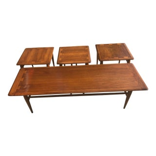 Mid Century Modern Lane Coffee Table and 3 Side Tables - 4 Piece Set For Sale