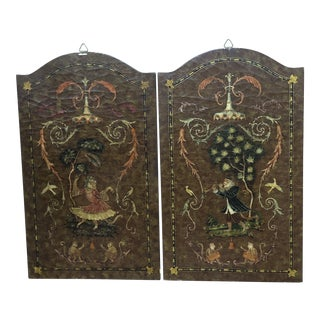 Modern Castilian Imports Wood Monkey Panels- A Pair For Sale