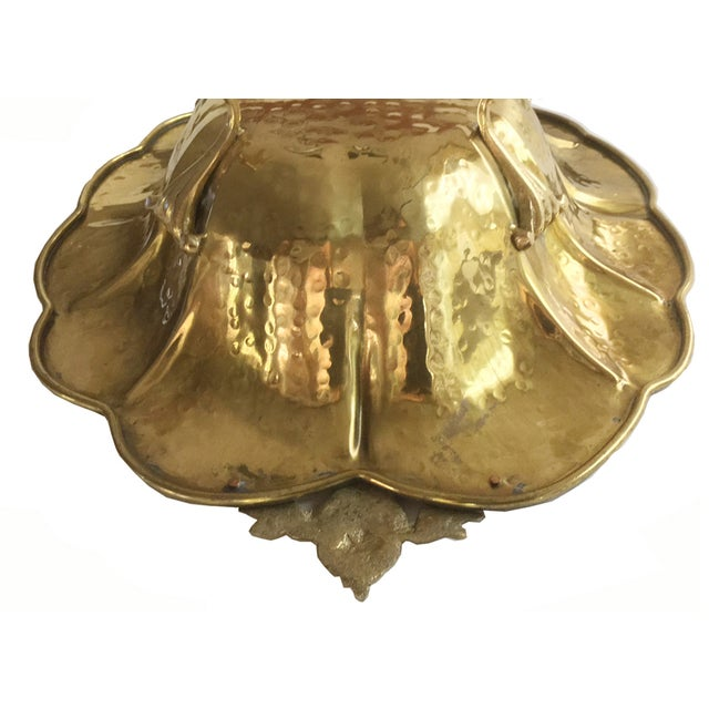 Large Hammered Brass Footed Bowl - Image 6 of 7