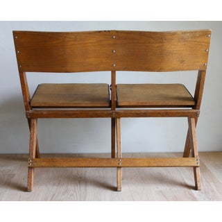 English Early 20th Century Primitive Shaker Style Scissor-Leg Folding Double Rack Bench Chairs Industrial Schoolhouse Preview