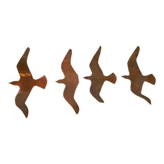 Vintage Copper Flying Birds - Set of 4