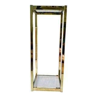 Brass & Glass Shelf Pedestal For Sale