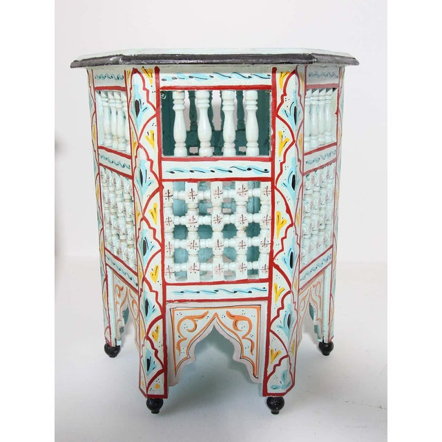 Ivory Moroccan Hand Painted Ivory Tables - a Pair For Sale - Image 8 of 13