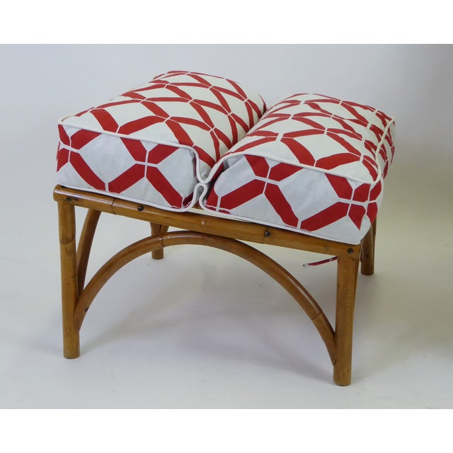 1940s Tropical Modern Rattan Lounge Chair and Ottoman For Sale - Image 9 of 13