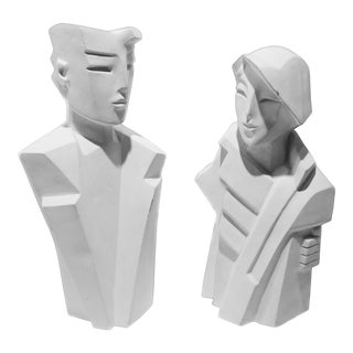 Karin Swildens White Deco Man and Woman Cast Sculptures - Set of 2 For Sale