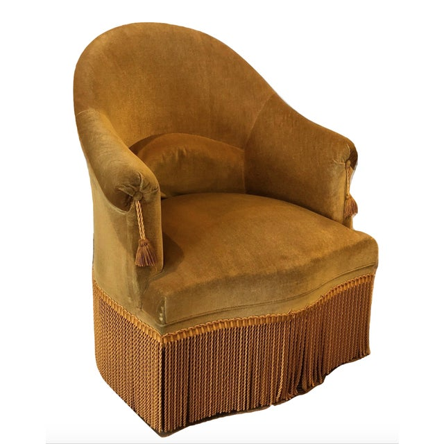 Velvet Crapaud Chair For Sale - Image 9 of 9