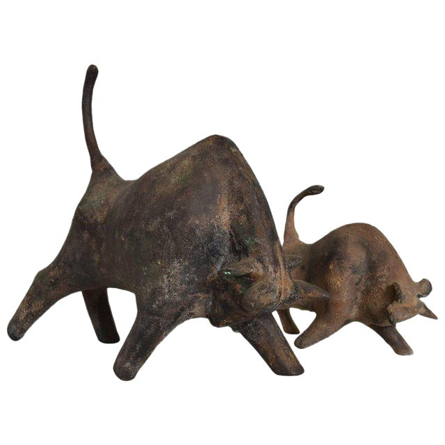 Pair of Mid-Century Modern Bull Table Sculptures, Iron, Japan For Sale
