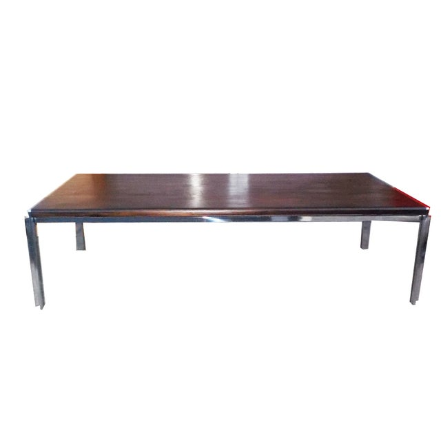 Wood And Chrome Pierceson Coffee Table: Stow Davis Vintage Wood & Chrome Coffee Table