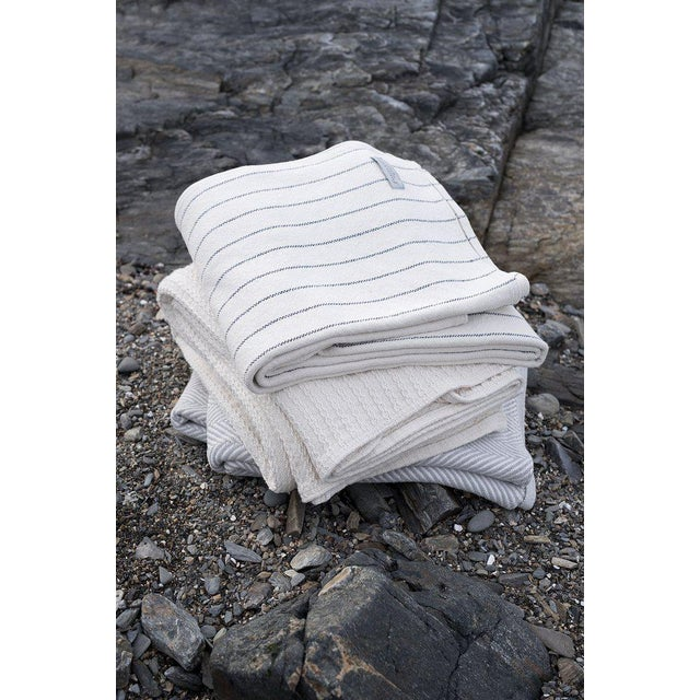 Contemporary Contemporary Pinstripe Grey King Blanket For Sale - Image 3 of 4