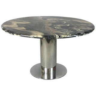 Italian Marble-Top Chrome Dining Table For Sale