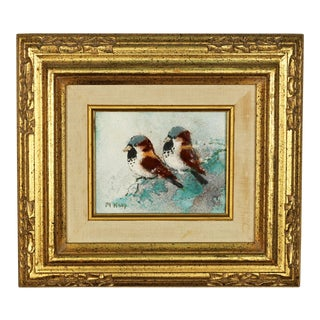 "1980s Vintage ""Snowbirds"" Signed Enamel on Copper by Max Karp For Sale"