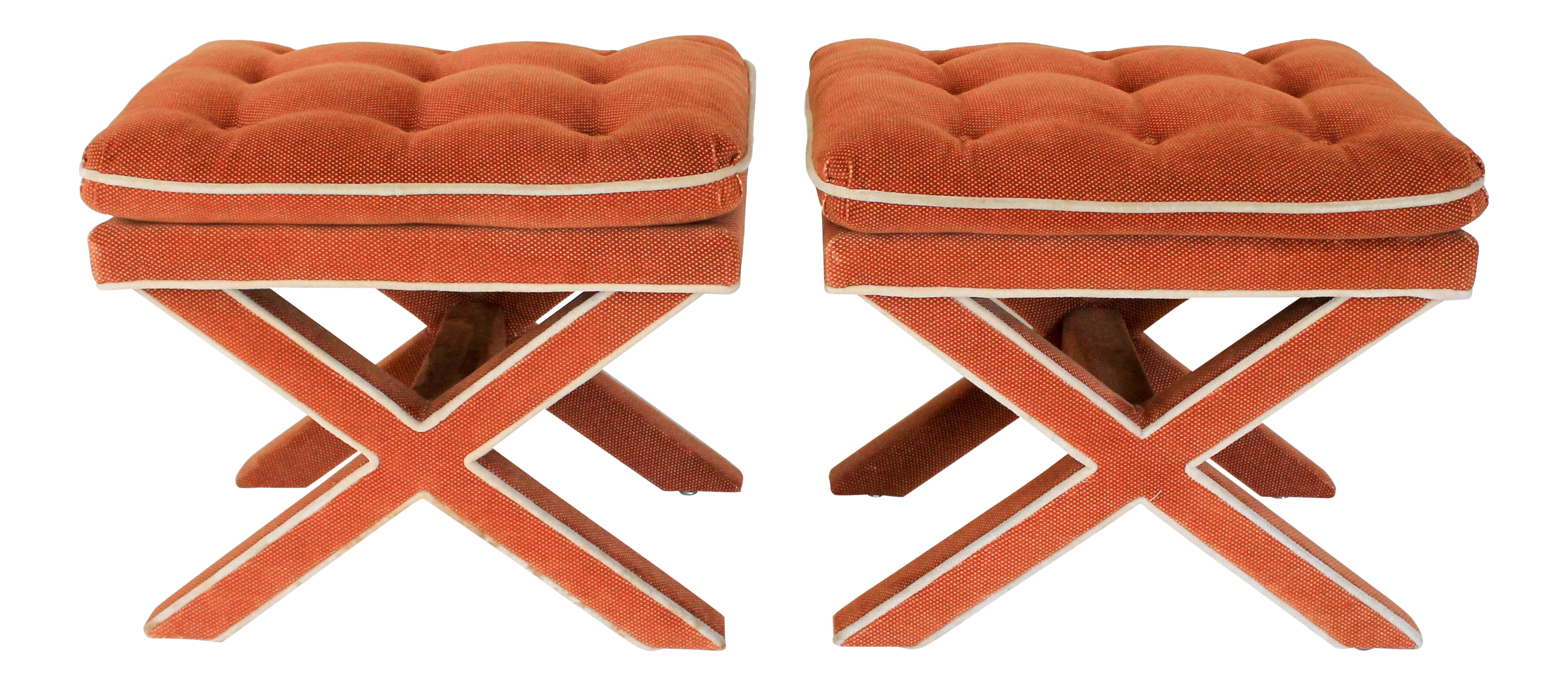 Vintage X Benches, A Pair For Sale