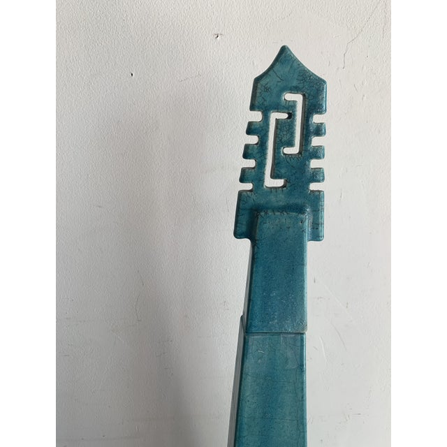 Large Vintage Turquoise James Mont Style Raku Pottery Decanter For Sale - Image 4 of 12