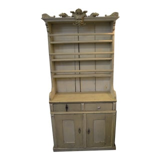 Antique Painted Wind God Topped Farm Hutch For Sale