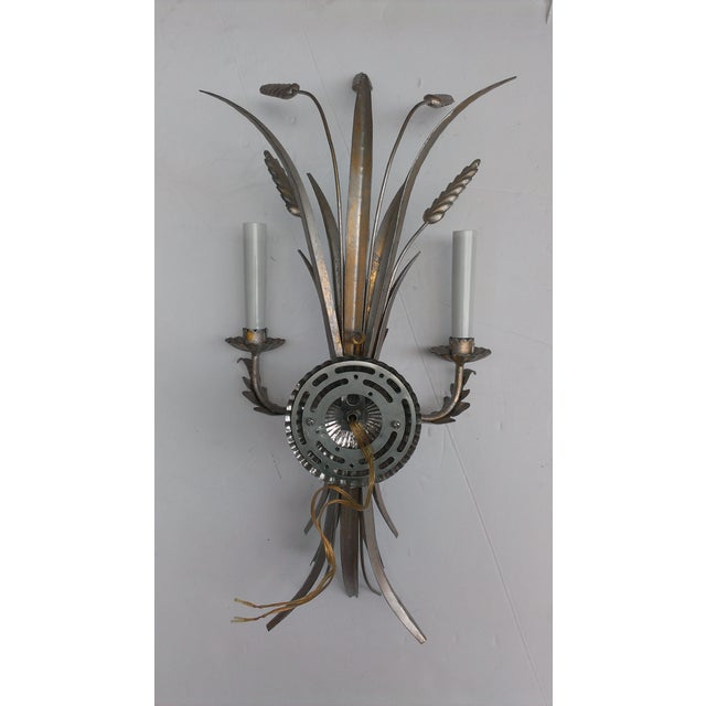 Mid 20th Century Italian Antique Silver Wheat Wall Sconces - a Pair - Image 8 of 9