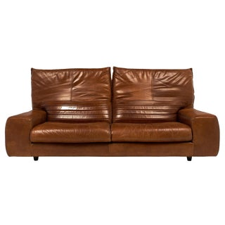 Vintage Italian Leather Sofa with Foldable Back
