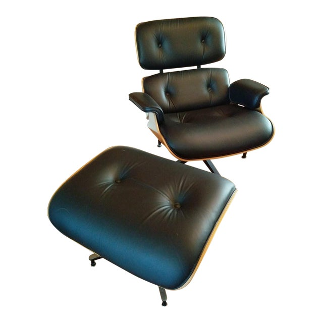 Eames Lounge Walnut & Black Leather Chair & Ottoman - Image 1 of 8