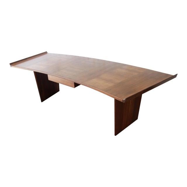 Excellent Curved Top Walnut Harvey Probber Executive Desk For Sale