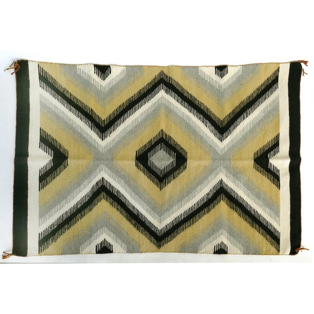 Black 1940s Original Hand-Woven Navajo Rug For Sale - Image 8 of 8